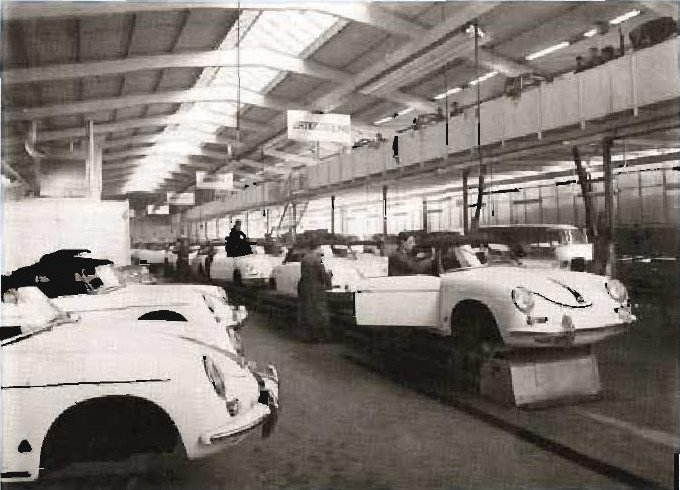 The production line for the Convertible D at Drauz. At the end of the line, the top is fitted. Drauz was well known for their convertibles, and that is one of the reasons that Porsche picked Drauz to supplement the factory production. The next step is to put the body on a dolly, for shipment to Porsche. (Photo courtesy of Karosserie Drauz)